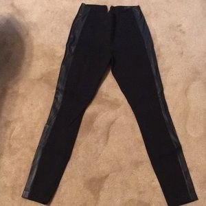 JCrew Black pixie pant with leather  size 2